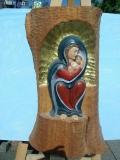 Madonna Stalingrad in Birnbaum geschnitzt,